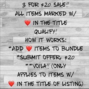 BUNDLE 3 for $20!!! BLACK FRIDAY!!!